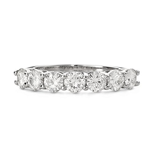 Shared Prong (Forever Brilliant Round 4.0mm Moissanite Wedding Band - size 6, 1.61cttw DEW by Charles & Colvard)