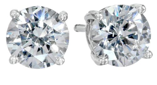 Platinum-Plated Sterling Silver Round-Cut  Swarovski Zirconia Stud Earrings (2 - Earrings