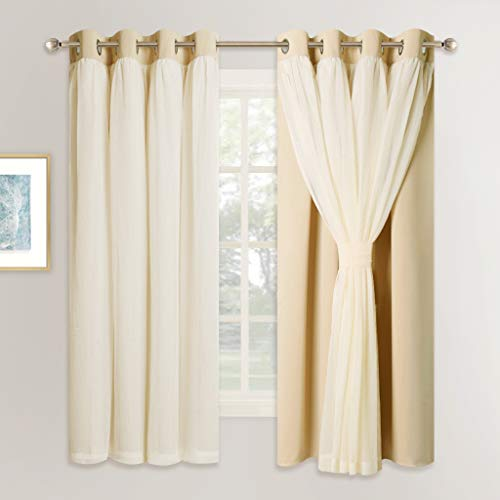 NICETOWN Double Layers Light Blocking Mix & Match Beige Crushed Voile and Blackout Curtains with 4 Tie-Backs for Bedroom Window, Cortinas para Sala (Set of 2, W52 x L63, Biscotti Beige) (Curtains Sale)