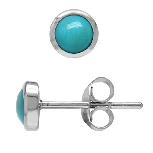Earring Vs1 (4MM Petite Genuine Arizona Turquoise White Gold Plated 925 Sterling Silver Stud Earrings)