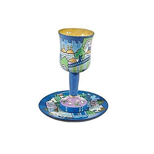 OKSLO Judaica wooden kiddush cup set with jerusalem depictions in blue