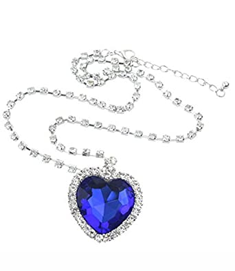 Ijewellery Sliver Plated Swarovski Elements Crystal Royal Blue Heart of The Ocean Pendant Necklace