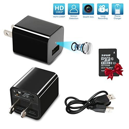 Mini Spy Hidden Camera, USB Charger Camera (32 GB Card Included), HD 1080P Nanny Cam Hidden Camera with Video Surveillance/Motion Detection/Loop Recording for Home Security, Indoors Office & Car