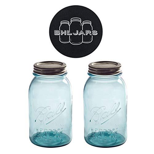 Ball Mason Jars 32 oz Regular Mouth Aqua Vintage Colored Glass Bundle with Non Slip Jar Opener- Set of 2 Quart Size Mason Jars - Canning Glass Jars with Lids