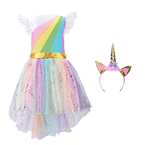 belababy Unicorn Costume Sets with Headband Princess Sequins Dress up Birthday Party Cosplay Outfits Small Rainbow -