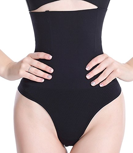 Hioffer 328 Women Waist Cincher Girdle Tummy Slimmer Sexy Thong Panty Shapewear,Black, 3XL ()