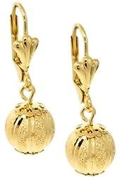"""Stunning 1-1/4"""" Dangle Spheres Gold Plated Lever-Back Women's Earrings"""
