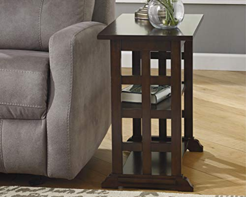 (Ashley Furniture Signature Design - Braunsen Chairside End Table - 2 Shelves - Contemporary Lattice Design- Brown)
