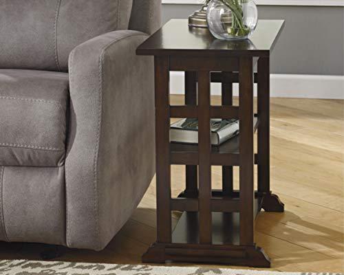 Ashley Furniture Signature Design - Braunsen Chairside End Table - 2 Shelves - Contemporary Lattice Design- Brown ()