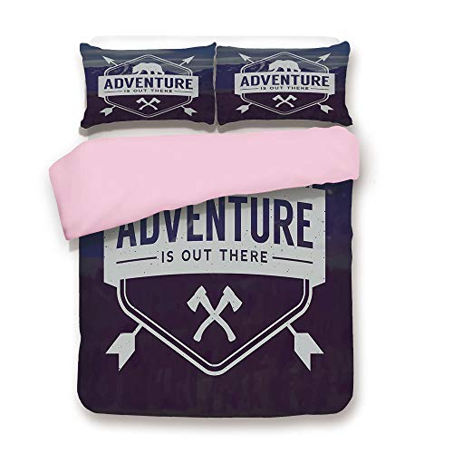 (Pink Duvet Cover Set,King Size,Adventure Logo with a Motivational Quote Hatchets and Bear Mountain Landscape Decorative,Decorative 3 Piece Bedding Set with 2 Pillow Sham,Best Gift For Girls Women,Stal)
