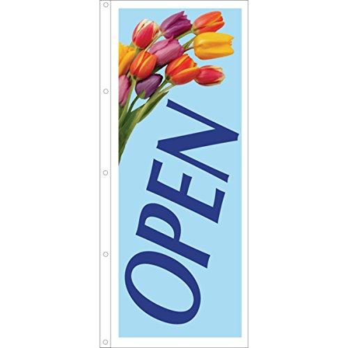 Open Flag, Tulips, 3' x 8'