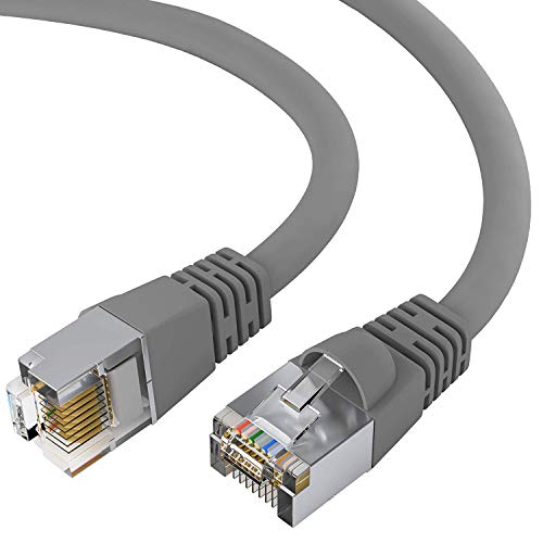 Shielded Cat5e Snagless Patch Cord - GOWOS Cat5e Shielded Ethernet Cable (100 Feet - Gray) 24AWG Network Cable with Gold Plated RJ45 Snagless/Molded/Booted Connector - High Speed LAN Internet/Patch Cable for PC/PS4/Xbox