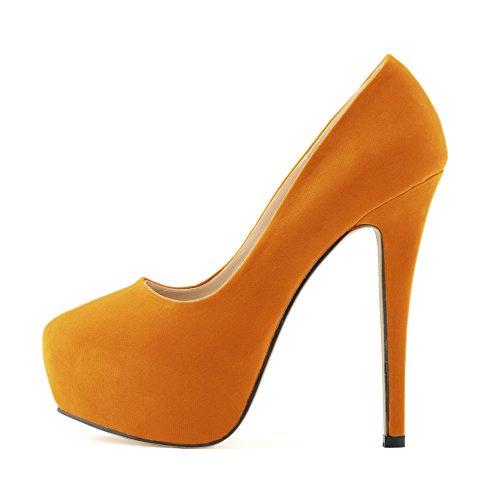Dress Velve Stiletto Zbeibei High Pumps Platform Faux Women's Orange Heels xnxqRZ0w