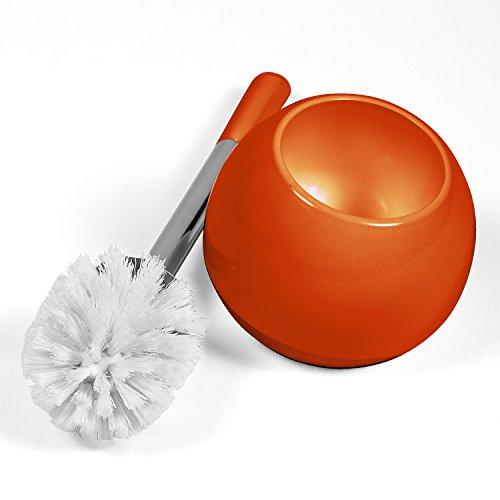 Tatkraft Fioretto Arancio Toilet Brush Holder Durable ShatterProof Acryl Collection Wc Brush Set