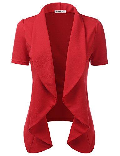 CLOVERY Women's Short Sleeve Casual Basic Work Office CardiganTuxedo Blazer Rose 3XL Plus Size ()