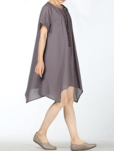 gris Courtes Femmes MatchLife Top O Robe Manches Cou Style2 wPZ7xq