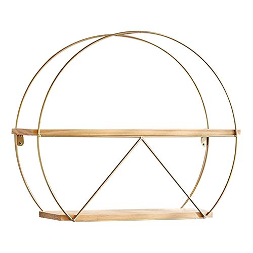 GUOWEI Floating Wall-Mounted Shelves Storage Display Organizers Wood Iron Semicircle Decoration Simple (Color : Gold, Size : 60x15x45cm)