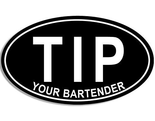 American Vinyl Oval Tip Your Bartender Sticker (Service bar Tips - Bartender Sticker