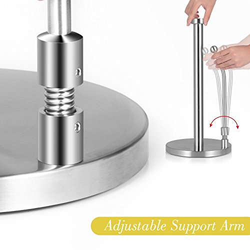 Paper Towel Holder,Kitchen Paper Towel Dispenser Heavy Duty Stainless Steel Countertop Napkin Holders Roll Holder Up Makeup Remover Standing Tabletop Tissue Holder by IUMÉ (Image #4)