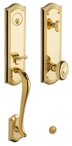 Baldwin 85337.003.ENTR Bethpage Emergency Exit Handleset with Bethpage Knob, Lifetime Polished Brass