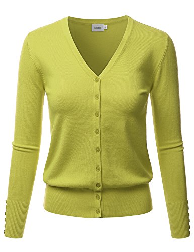 LALABEE Women's V-Neck Long Sleeve Button Down Sweater Cardigan Soft Knit-Lime-S