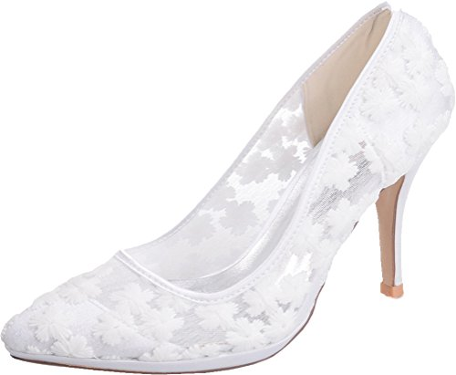 Job Pumps Heeled Comfort Pointed White Work Bride 0255 Ladies 40 Platform Toe Eu Nightclub Ol Wedding 31 Lace BqxA06g