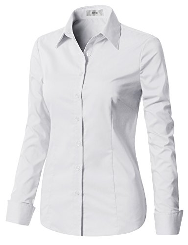EZEN Womens Trendy Work Attire White X-Large