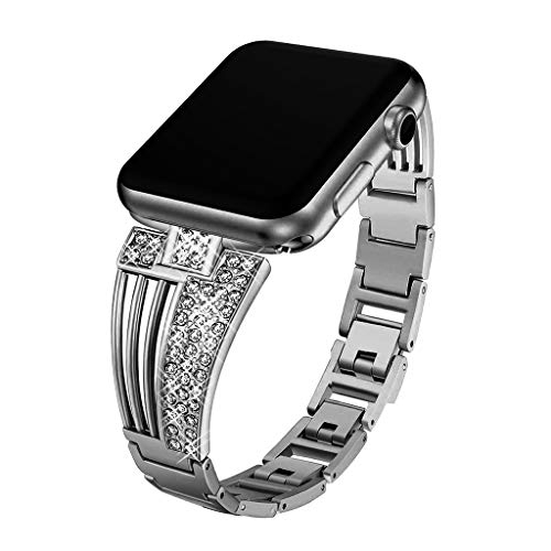 Chercherr Scalloped Diamond Band Strap, Replacement Stainless Chain Watch Band with Strong Clasp Adjustable Decorative Chain Wristband For Apple Watch Series 1/2/3/4 42 / 44mm (Black)