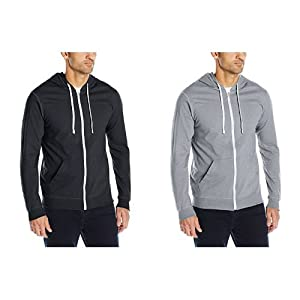 Fruit of the Loom Men's Jersey Full-Zip Hood, Black/Heather Grey, XXX-Large