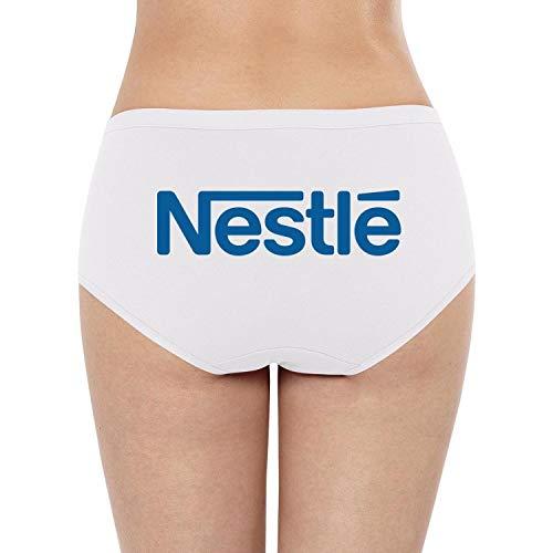 White Women's Popular Underpants Nestle-Logo- Breathable Hipster Panty