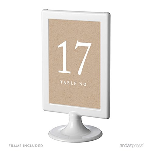 Andaz Press Framed Double-Sided Table Numbers 17-24, Kraft Print, 1-Set, 4x6-inch, Includes Frames