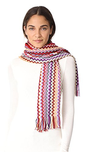 Missoni Women's Metallic Zigzag Scarf, Red, One Size by Missoni