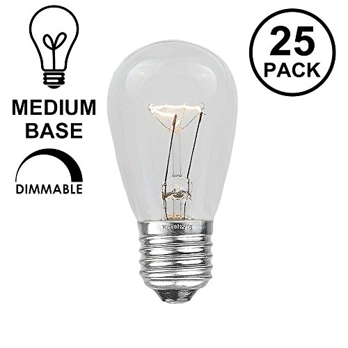 Novelty Lights 25 Pack S14 Outdoor Patio Edison Replacement Bulbs, E26 Medium Base, Clear, 11 Watt
