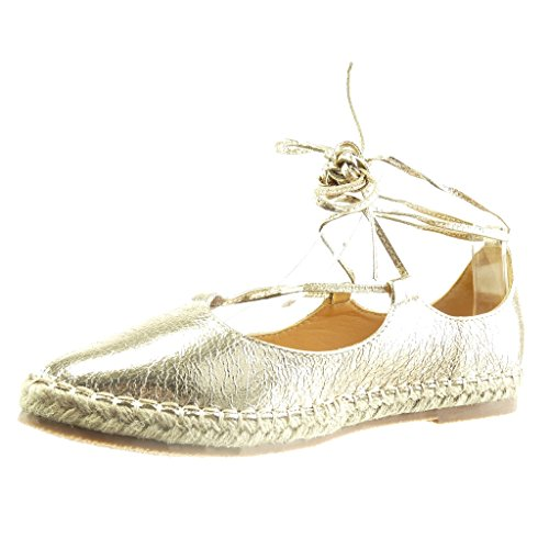 Angkorly - Chaussure Mode Sandale Espadrille femme brillant lacets corde Talon bloc 2 CM - Or