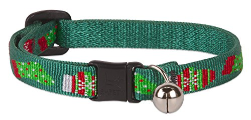 Christmas Cat Collar - LupinePet Originals 1/2 Stocking Stuffer Cat Safety Collar with Bell, 8-12