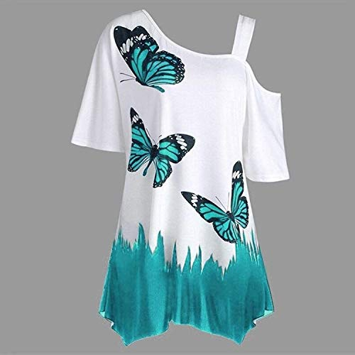 Off Epaule Femme Shirt Chic Haut Et Tops Imprim Elgante Papillon Blau Shirts Costume Oversize Shoulder Manches Tunique Mode Courtes Loisir Une Tee Baggy 0aw5qx5