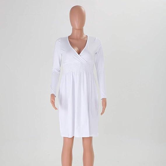 Deloito damska elegancka sukienka koktajlowa z głębokim dekoltem w serek 3/4, rękawy, linia A, sukienka wieczorowa Bodycon sukienka koktajlowa, sukienka na imprezę: Odzież