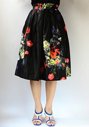 YSJ Women's Midi Skirt A-Line Pleated High Waist Floral OL