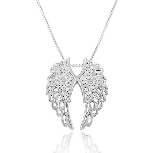 (Chuvora 925 Sterling Silver Sparkling CZ Open Angel Heart Wings Pendant Necklace, 18)