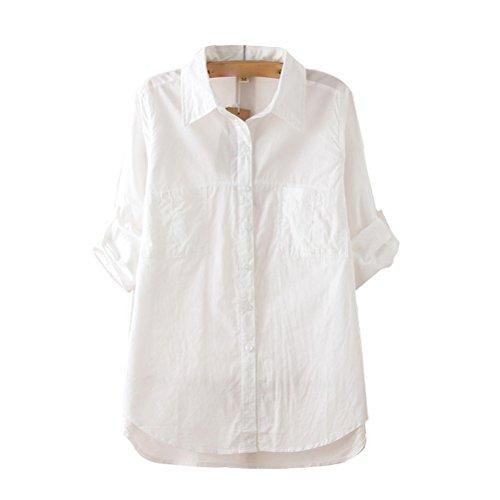 Nanxson(TM) Spring women loose cotton white Shirt Japanese/ Korea style CSW0019 (L)