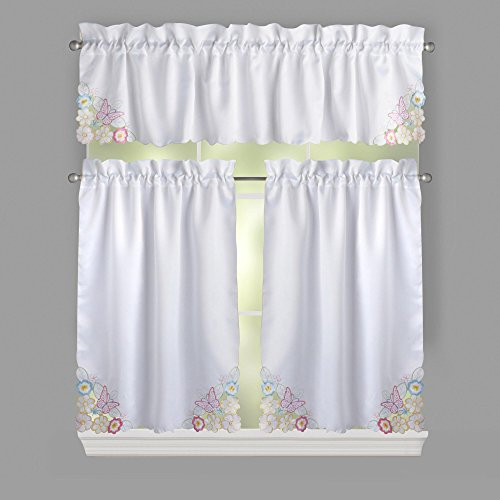 Nantucket Home Spring Butterfly Floral Cutwork Tier Valance Cafe Curtain Set, 3-Piece Nantucket 3 Piece Set