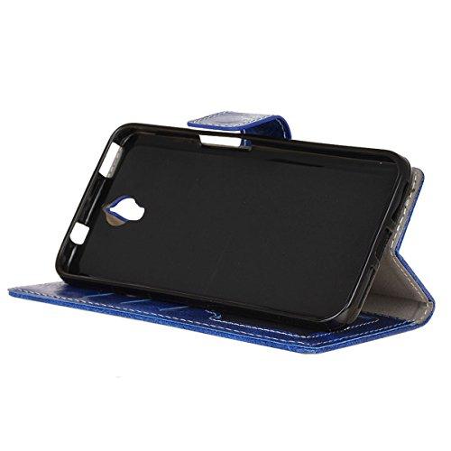 Funda Alcatel Idol X Plus, Funda de cuero Alcatel Idol X +, Lifetrut [Funda para Cartera Flip] Caja de cuero magnética de lujo de la PU de la carpeta para Alcatel Idol X + / X Plus 5.0 [Azul] E202-Azul