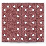 50 Feuilles abrasifs auto-agrippantes MioTools / papier abrasif pour ponceuse vibrante - 230x115 mm - grain 80 – 14 trous