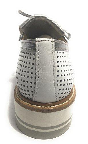 YOX By N. BARBATO - Zapatos de cordones de Piel para mujer BIANCO / SPECCHIO ACCIAIO 40
