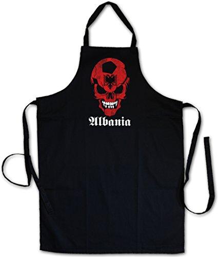 BLACK CLASSIC FOOTBALL SOCCER ALBANIA SKULL FLAG BARBECUE BBQ COOKING KITCHEN GRILLING APRON – Fußball Fan Hooligan Albanien albanisch albanian