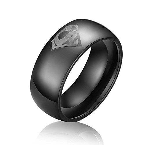 DILANCO 8mm Black Beveled Tungsten Carbide Men's Comfort Fit Wedding Bands Rings with Superman ()