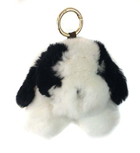 Genuine Rex Rabbit Fur Puppy Dog Keychain - Bag Purse Charm - Gold Ring Fluffy Fur Ball - Fashion Gift ()