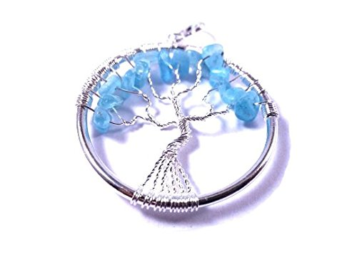 Bonanza Day Sale ! Blue Onyx Tree Of Life Pendent Natural Gemstone Original Stone Size - 1.5-2 INchs Aura Cleaning Crystal Healing Energy Stone For promotes ascension, removes obstructions to the mental body healing Free Set Of 3 Lapis Lazuli Pyramid