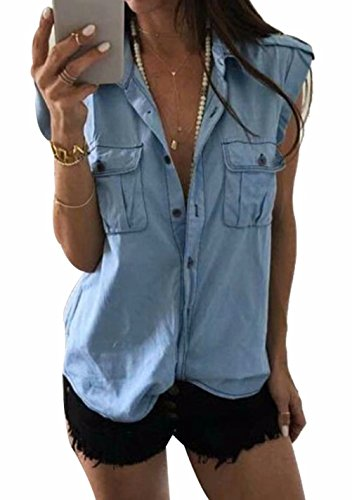 EGELEXY Women Denim Shirt Sleeveless Lapel Neck Button Down Summer Tee Tops Blouse Size US 12-14/Tag XXL (Light Blue)