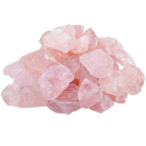 (SUNYIK Natural Raw Stones Rough Rock Crystals for Tumbling,Cabbing,Rose Quartz,1pound(About 460 Gram))
